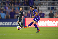 Orlando, FL - Saturday March 24, 2018: Orlando Pride defender Ali Krieger (11) plays the ball out wide during a regular season National Women's Soccer League (NWSL) match between the Orlando Pride and the Utah Royals FC at Orlando City Stadium. The game ended in a 1-1 draw.