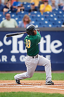 Lynchburg Hillcats second baseman Claudio Bautista (10) hits a home run during a game against the Wilmington Blue Rocks on June 3, 2016 at Judy Johnson Field at Daniel S. Frawley Stadium in Wilmington, Delaware.  Lynchburg defeated Wilmington 16-11 in ten innings.  (Mike Janes/Four Seam Images)