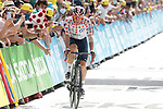 Michael Woods (CAN) Israel Start Up Nation loses the Polka Dot Jersey as he crosses the finish line at the end of Stage 15 of the 2021 Tour de France, running 191.3km from Céret to Andorre-La-Vieille, Andorra. 11th July 2021.  <br /> Picture: Colin Flockton | Cyclefile<br /> <br /> All photos usage must carry mandatory copyright credit (© Cyclefile | Colin Flockton)