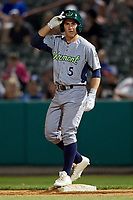 Vermont Lake Monsters pinch runner Adrian Spitz (5) stands on first base during a game against the Tri-City ValleyCats on June 16, 2018 at Joseph L. Bruno Stadium in Troy, New York.  Vermont defeated Tri-City 6-2.  (Mike Janes/Four Seam Images)