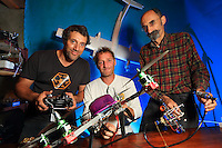 "Portrait of the Wadudu association's team with the experimental drone ""The Joker"". From left to right, Alexandre Cabrit, project head, Etienne Roumailhac, hunter of Asian hornets, and Bernard Sauve, who prepared the drone.///Portrait de l'équipe avec le drone expérimental «  Le joker » de l'association Wadudu. De gauche à droite, Alexandre Cabrit chef du projet, Etienne Roumailhac chasseur de frelons asiatiques et Bernard Sauve préparateur de drone."
