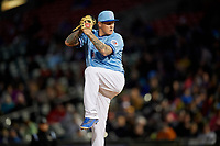 Buffalo Bisons starting pitcher Mat Latos (61) delivers a pitch during a game against the Pawtucket Red Sox on May 19, 2017 at Coca-Cola Field in Buffalo, New York.  Buffalo defeated Pawtucket 7-5 in thirteen innings.  (Mike Janes/Four Seam Images)