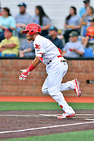 Johnson City Cardinals first baseman Carlos Rodriguez (12) runs to first base during a game against the Bristol Pirates at TVA Credit Union Ballpark on June 23, 2017 in Johnson City, Tennessee. The Pirates defeated the Cardinals 4-3. (Tony Farlow/Four Seam Images)