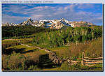 This fence is now gone, ending a classic Colorado image. Sneffels Range at Dallas Divide.<br /> John offers guided, photo tours of Colorado's mountains. John guides custom photo tours in the Sneffels Range and throughout Colorado.