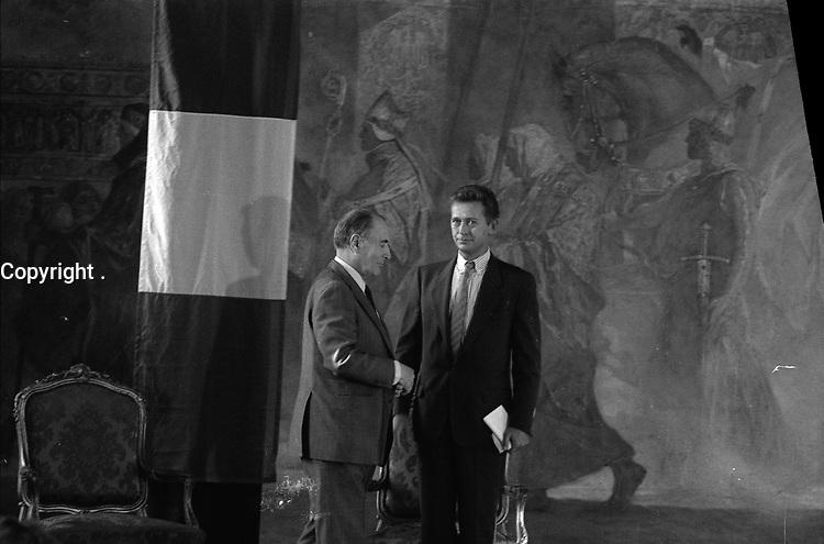 29 Septembre 1987. Vue de Dominique Baudis et de François Mitterand lors d'une réception au Capitole.