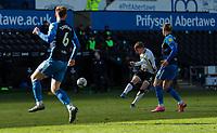 5th April 2021; Liberty Stadium, Swansea, Glamorgan, Wales; English Football League Championship Football, Swansea City versus Preston North End; Jay Fulton of Swansea City shoots at goal but it goes wide