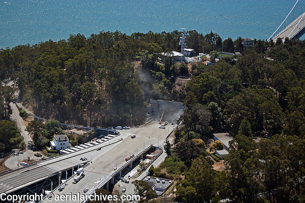 aerial photograph San Francisco Oakland Bay Bridge construction at Yerba Buena island tunnel