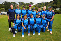 Hutt Districts pose for a group photo before the Wellington women's Maureen Peters T20 competition cricket final between Wellington Collegians and Hutt District at Anderson Park in Wellington, New Zealand on Saturday, 28 March 2021. Photo: Dave Lintott / lintottphoto.co.nz