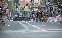 finish sprint at the Via Roma between Peter Sagan (SVK/Bora-Hansgrohe), Michal Kwiatkowski (POL/SKY) & Julian Alaphilipe (FRA/QuickStep Floors)<br /> <br /> 108th Milano - Sanremo 2017