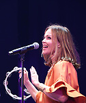 The Go-Go's: Belinda Carlisle performs during a special curtain call at Broadway's 'Head Over Heels' on July 12, 2018 at the Hudson Theatre in New York City.