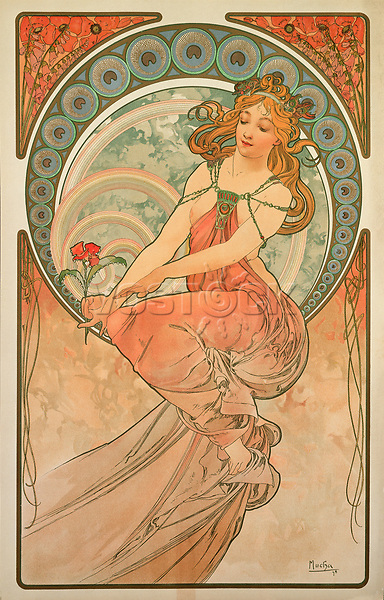 """Mucha, Alfons Marie (1860-1939), Painting (From the series """"The Arts""""), Colour lithograph, 60x38, Art Nouveau, 1898, Czechia, A. Mucha Museum, Prague."""