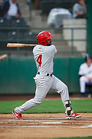 Vancouver Canadians Jesus Lopez (4) at bat during a Northwest League game against the Tri-City Dust Devils at Gesa Stadium on August 21, 2019 in Pasco, Washington. Vancouver defeated Tri-City 1-0. (Zachary Lucy/Four Seam Images)