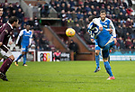 Hearts v St Johnstone…03.02.18…  Tynecastle…  SPFL<br />Chris Kane's volley hits the bar<br />Picture by Graeme Hart. <br />Copyright Perthshire Picture Agency<br />Tel: 01738 623350  Mobile: 07990 594431