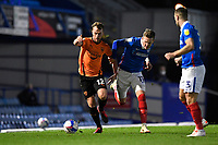 Sam Long of Oxford United holds off Ronan Curtis of Portsmouth during Portsmouth vs Oxford United, Sky Bet EFL League 1 Football at Fratton Park on 24th November 2020