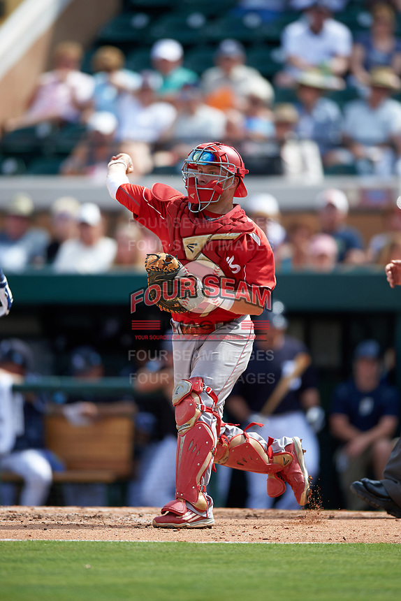 Florida Southern Moccasins catcher Evan Barnes (39) throws down to third base during an exhibition game against the Detroit Tigers on February 29, 2016 at Joker Marchant Stadium in Lakeland, Florida.  Detroit defeated Florida Southern 7-2.  (Mike Janes/Four Seam Images)