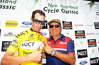 Tour champion Joe Cooper with organiser Jorge Sandoval after stage five of the NZ Cycle Classic UCI Oceania Tour in Masterton, New Zealand on Tuesday, 26 January 2017. Photo: Dave Lintott / lintottphoto.co.nz