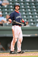 Catcher Kole Cottam (29) of the Greenville Drive in Game 1 of a doubleheader against the Rome Braves on Friday, August 3, 2018, at Fluor Field at the West End in Greenville, South Carolina. Rome won, 7-6. (Tom Priddy/Four Seam Images)