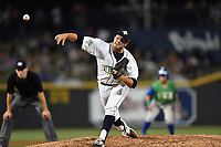 Relief pitcher Austin McGeorge (27) of the Columbia Fireflies delivers a pitch in a game against the Lexington Legends on Saturday, April 22, 2017, at Spirit Communications Park in Columbia, South Carolina. Lexington won, 4-0. (Tom Priddy/Four Seam Images)