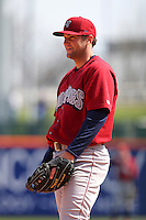 Lehigh Valley IronPigs first baseman Cody Overbeck #10 during a game against the Buffalo Bisons at Coca-Cola Field on April 19, 2012 in Buffalo, New York.  Lehigh Valley defeated Buffalo 8-4.  (Mike Janes/Four Seam Images)