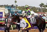 DEL MAR, CA - NOVEMBER 03: Rushing Fall #11, ridden by Javier Castellano won the Juvenile Fillies Turf race on Day 1 of the 2017 Breeders' Cup World Championships at Del Mar Thoroughbred Club on November 3, 2017 in Del Mar, California. (Photo by Bill Denver/Eclipse Sportswire/Breeders Cup)
