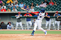 Tennessee Smokies shortstop Andy Weber (7) at bat against the Rocket City Trash Pandas at Smokies Stadium on July 2, 2021, in Kodak, Tennessee. (Danny Parker/Four Seam Images)