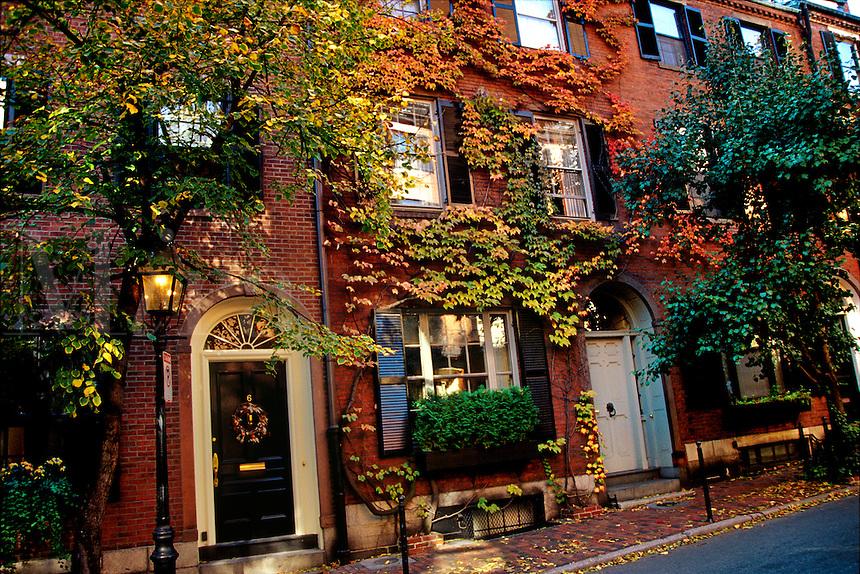 Ivy covered houses on Cedar Street Beacon Hill district Boston Massachusetts USA.