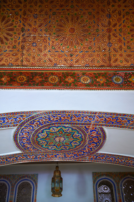Berber arabesque architecture of  the Petite Court, Bahia Palace, Marrakesh, Morroco