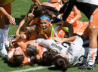 Sky Blue FC forward Natasha Kai celebrates after winning the Final Championship match.  The Sky Blue FC defeated the LA Sol 1-0 to win the WPS Final Championship match at Home Depot Center stadium in Carson, California on Saturday, August 22, 2009...