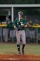 Venice Indians Michael Robertson (12) bats during a game against the Braden River Pirates on February 25, 2021 at Braden River High School in Bradenton, Florida.  (Mike Janes/Four Seam Images)