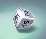 Illustrative image of dice with various currency symbols representing price war and gambling