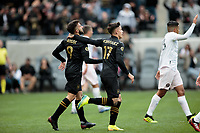 LOS ANGELES, CA - MARCH 01: Diego Rossi #9 and Brian Rodriguez #17 celebrate during a game between Inter Miami CF and Los Angeles FC at Banc of California Stadium on March 01, 2020 in Los Angeles, California.