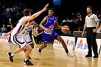 Kerwin Roach of the Wellington Saints drives to the basket during the round one NBL match between the Wellington Saints and the Canterbury Rams at TSB Bank Arena, Wellington, New Zealand on Friday 30 April 2021.<br /> Photo by Masanori Udagawa. <br /> www.photowellington.photoshelter.com