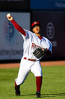 Wisconsin Timber Rattlers starting pitcher Victor Castaneda (21) warms up in the outfield prior to a game against the Beloit Snappers on May 4, 2021 at Neuroscience Group Field at Fox Cities Stadium in Grand Chute, Wisconsin.  (Brad Krause/Four Seam Images)