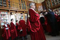 giudici indossano la toga nella sala della vestizione<br /> judges wearing the gown in the dressing room<br /> Roma 29/01/2010 Inaugurazione dell'Anno Giudiziario alla Corte di Cassazione.<br /> Opening of the Judicial Year.<br /> Photo Samantha Zucchi Insidefoto