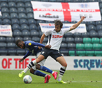 Preston North End's Ben Pearson battles with  Cardiff City's Junior Hoilett<br /> <br /> Photographer Mick Walker/CameraSport<br /> <br /> The EFL Sky Bet Championship - Preston North End v Cardiff  City - Saturday 27th June 2020 - Deepdale Stadium - Preston<br /> <br /> World Copyright © 2020 CameraSport. All rights reserved. 43 Linden Ave. Countesthorpe. Leicester. England. LE8 5PG - Tel: +44 (0) 116 277 4147 - admin@camerasport.com - www.camerasport.com