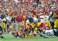 LOS ANGELES, CA - September 22, 2012:  USC running back Silas Redd (25) during the USC Trojans vs the Cal Bears at the Los Angeles Memorial Coliseum in Los Angeles, CA. Final score USC 27, Cal 9..
