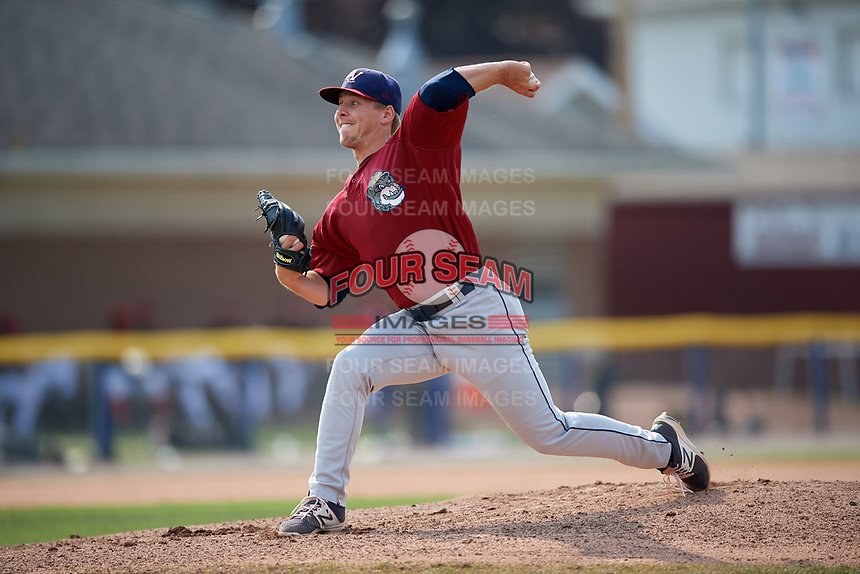 Mahoning Valley Scrappers starting pitcher Kirk McCarty (38) delivers a pitch during the second game of a doubleheader against the Batavia Muckdogs on September 4, 2017 at Dwyer Stadium in Batavia, New York.  Mahoning Valley defeated Batavia 6-2.  (Mike Janes/Four Seam Images)