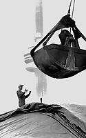 Pretty Sweet Job; Kevin Massey; standing on top of 30;000 tonnes of raw sugar; helps the crane operator guide the bucket for another load. The sugar will be stored over the winter at Redpath Sugar at the foot of Toronto's Jarvis St.<br /> <br /> Photo : Boris Spremo - Toronto Star archives - AQP