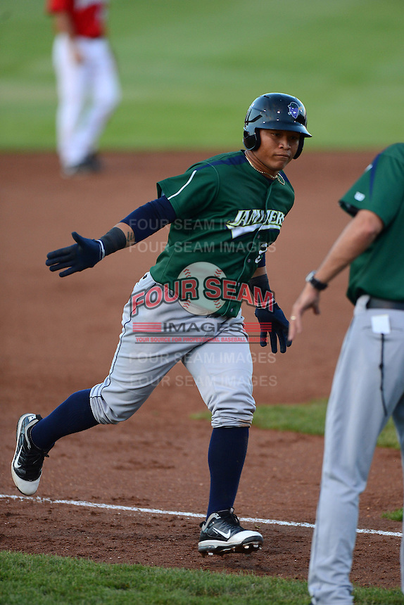 Jamestown Jammers outfielder Harold Ramirez #23 runs the bases after hitting a home run during a game against the Auburn Doubledays on July 4, 2013 at Falcon Park in Auburn, New York.  Jamestown defeated Auburn 5-4.  (Mike Janes/Four Seam Images)
