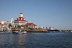 View of Parker's Lighthouse and the Queen Mary from Rainbow Harbor in Long Beach, CA