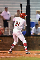 Johnson City Cardinals center fielder Magneuris Sierra #31 awaits a pitch during a game against the Danville Braves at Howard Johnson Field September 4, 2014 in Johnson City, Tennessee. The Braves defeated the Cardinals 6-1. (Tony Farlow/Four Seam Images)