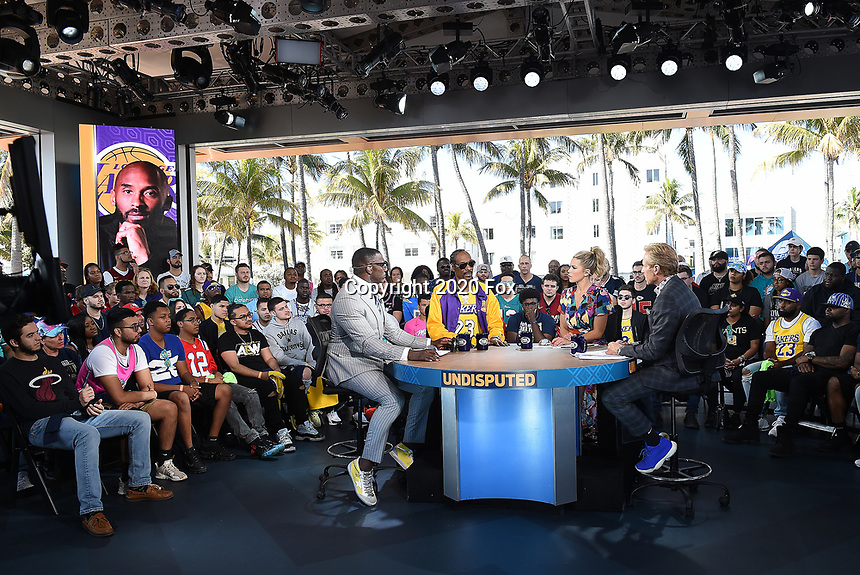 """MIAMI BEACH, FL - JANUARY 29: Shannon Sharpe, Snoop Dogg, Jenny Taft, and Skip Bayless on the set of """"Skip & Shannon: Undisputed"""" on the Fox Sports South Beach studio during Super Bowl LIV week on January 29, 2020 in Miami Beach, Florida. (Photo by Frank Micelotta/Fox Sports/PictureGroup)"""