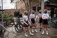 Team Park Hotel Valkenburg at the race start in Denain<br /> <br /> Inaugural Paris-Roubaix Femmes 2021 (1.WWT)<br /> One day race from Denain to Roubaix (FRA)(116.4km)<br /> <br /> ©kramon