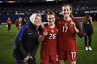 San Diego, CA - Sunday January 21, 2018: Jane Campbell, Savannah McCaskill, Tierna Davidson prior to an international friendly between the women's national teams of the United States (USA) and Denmark (DEN) at SDCCU Stadium.