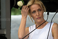 Gillian Anderson (American-British film, television and theatre actress, activist and writer).<br /> <br /> London, 22/06/2016. Today, thousands of people gathered in Trafalgar Square to celebrate the life Jo Cox, the Labour Member of Parliament who was brutally killed by the far-right extremist Thomas Mair on the 16th of June 2016. From the organisers Facebook page: <<[…] We will gather together in Trafalgar Square to celebrate Jo's warmth, love, energy, passion, flair, Yorkshire heritage, and belief in the humanity of every person in every place, from Batley and Spen to Aleppo and Darayya. Jo believed that there is more that unites us than divides us, and she was killed for those beliefs. She believed in a love that is fierce, brave and humble. Her death has devastated a family, and attacked the ideals that we as a nation most cherish. But we will not be divided. We will rise up together to carry Jo's message forward. We will meet hate with love. On the day Jo would have been 42, we are asking everyone, everywhere to love like Jo loved. Jo's legacy is a direct challenge to everyone here, to take part, speak up and be a voice for the voiceless, to treat even those we disagree with with tolerance and genuine respect. Let's honour Jo on Wednesday by carrying forward the message that she now symbolises around the world - that we have #moreincommon than that which divides us.>>.<br /> <br /> For more information about the event please click here: https://www.facebook.com/events/1369130213102106/<br /> <br /> For more information about the death of Jo Cox please click here: https://en.wikipedia.org/wiki/Death_of_Jo_Cox & http://www.bbc.co.uk/news/uk-england-36550304