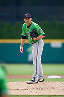 Gwinnett Stripers starting pitcher Miguel Socolovich (53) looks in for the sign during a game against the Columbus Clippers on May 17, 2018 at Huntington Park in Columbus, Ohio.  Gwinnett defeated Columbus 6-0.  (Mike Janes/Four Seam Images)
