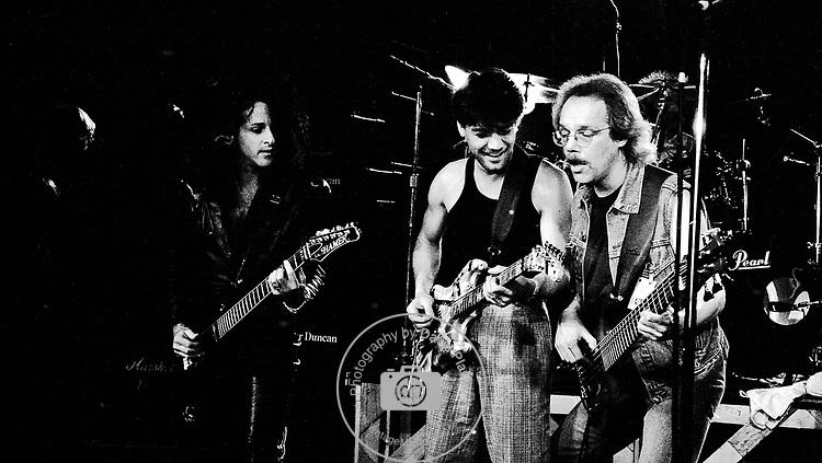 Eddie Van Halen, Steve Stevens & Tim Bogert at NAMM 1987