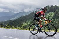 later stage winner Dylan Teuns (BEL/Bahrain-Victorius) up the Col de la Colombière <br /> <br /> Stage 8 from Oyonnax to Le Grand-Bornand (150.8km)<br /> 108th Tour de France 2021 (2.UWT)<br /> <br /> ©kramon