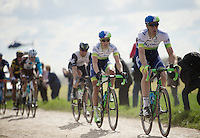 eventual winner Matthew Hayman (AUS/Orica-GreenEDGE) over the cobbles of sector 14: Tilloy à Sars-et-Rosières (2.4km)<br /> <br /> 114th Paris-Roubaix 2016