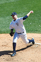 Empire State Yankees starting pitcher Justin Thomas #33 during an International League game against the Buffalo Bisons at Coca-Cola Field on August 21, 2012 in Buffalo, New York.  Empire State, who was the home team because of stadium renovations, defeated Buffalo 4-2.  (Mike Janes/Four Seam Images)